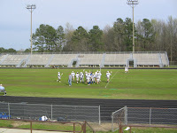 JV Trojans in pre-game warm ups