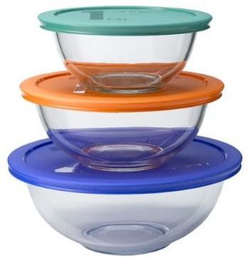 Pyrex 6 piece Mixing Bowl Set