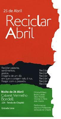 o 25 de Abril precisa de reciclagem já que os actuais bandidos no poder são mais fascistas do Salazar, mas vivem disfarçados de Marcelos Caetano