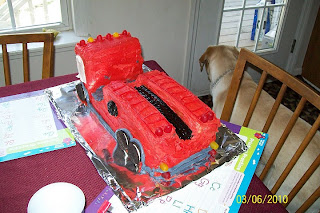Picture of a red cake - Toby is in the corner of the picture - looking out the window