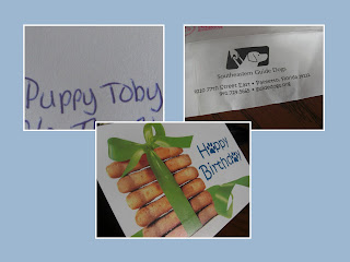 Layout of 3 photos - first one says Puppy - Toby, second one shows the return address label (which is Southeastern Guide Dogs), the third picture is of the front of the birthday card - it has 6 milk bone dog treats stacked up & tied with green ribbon, and to the side is says Happy Birthday, both A's are paw prints