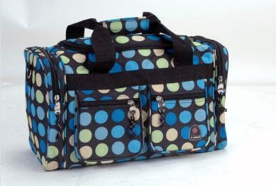 Photo of the very cute polka dot duffle bag - which is what the giveaway is for
