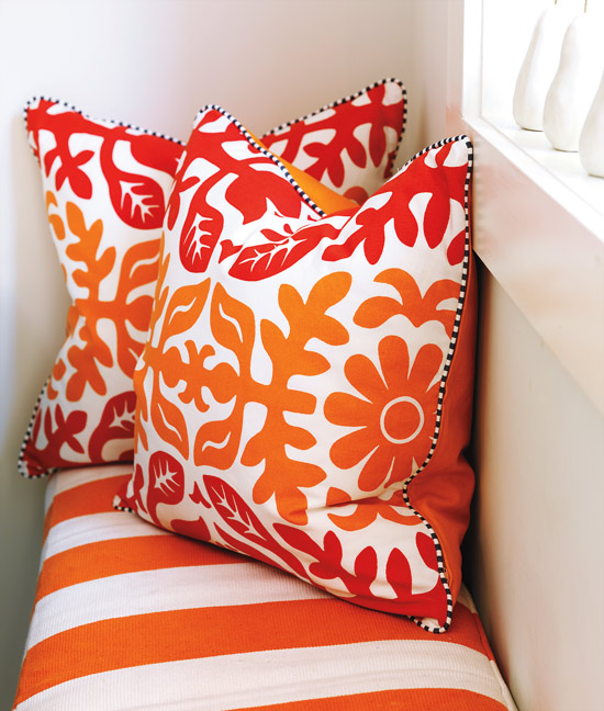 Flourish design style grey and orange are fabulous in this bright little kitchen - Orange kitchen chair cushions ...