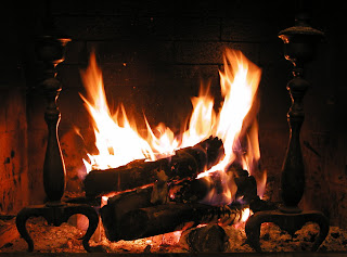 Crackling and warm fire on a cold night
