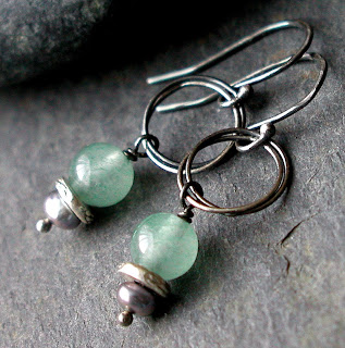 Cruzan Earrings – hand made sterling silver earrings featuring freshwater pearls and Aventurine gemstones
