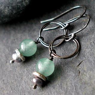 Cruzan Earrings – hand made sterling silver earrings featuring freshwater pearls and Aventurine gemstones