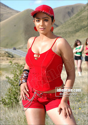Telegu Actress Charmme in Hot Red Dress