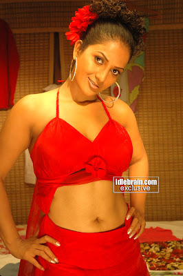 Hot Desi Masala Actress Ruthika In Spicy Red Dress