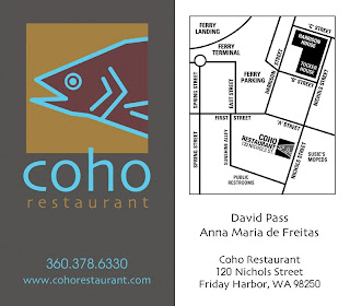 A shull design coho restaurant business card this double sided business card showcases the coho restaurant logo as well as a custom designed map on the back colourmoves