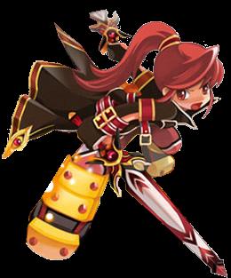 Elesis Tornou-se uma poderosa espadachim graças a seu pai: foi treinada desde a infância por ele,