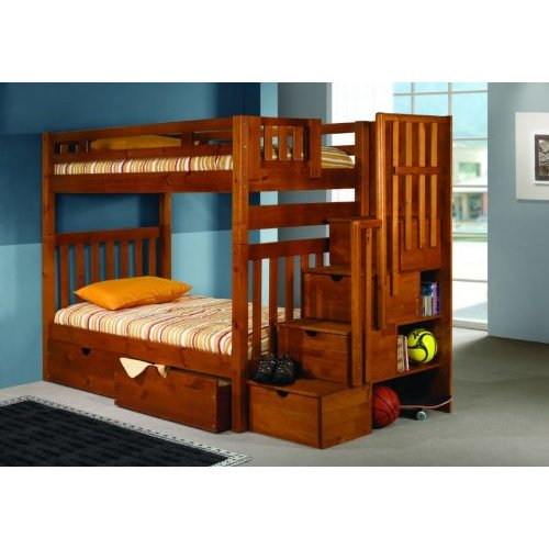 Twin bunk beds with stairs twin bunk beds with stairs - Bunk bed with drawer steps ...