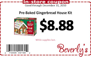 Beverly's Fabric and Crafts In-Store Coupon: Gingerbread House Kits for just $8.88 while supplies last. Good thru December 31, 2010.