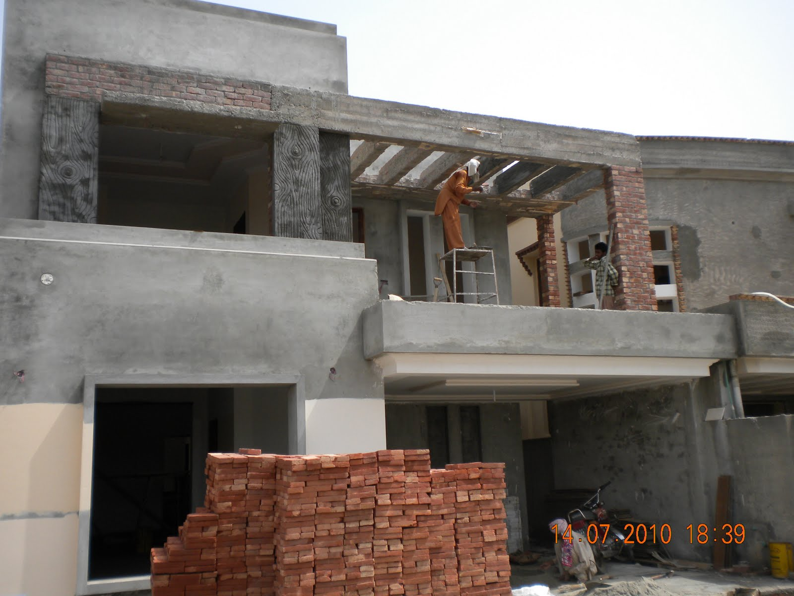 ... Marla under construction home - Front Elevation Khaka Work Starts