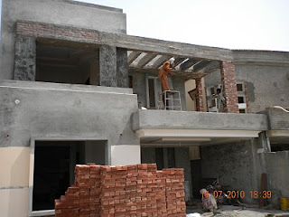 under construction home - Front Elevation Khaka Work Starts today