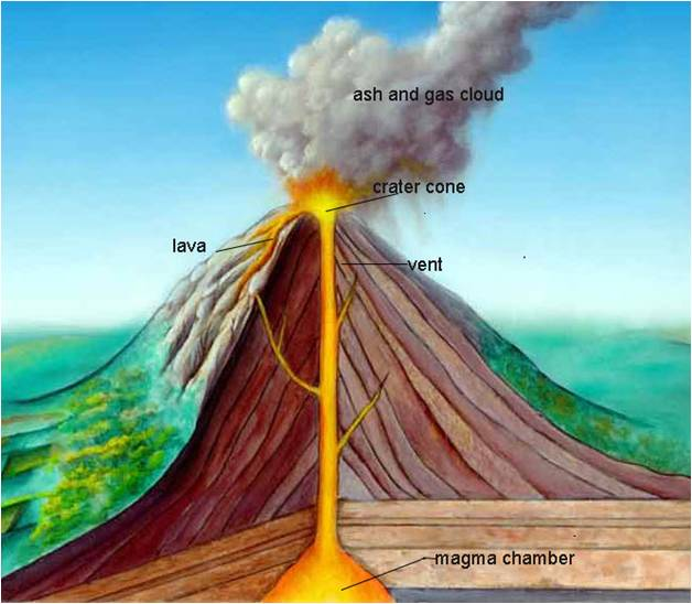 Craters are found at the top of volcanoes.