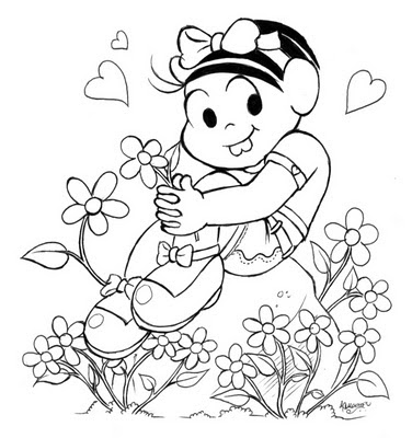 Desenho da Mônica em cima da pedra e com flores em volta pra colorir, Desenho pa