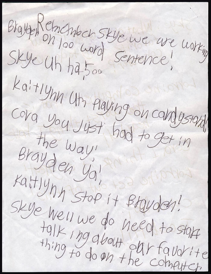 A rare handwritten AIM chat log from the early part of this century.