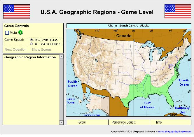 GISgeek Mapping Games - Sheppard software us map