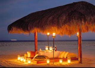 romantic beach dinner wallpaper