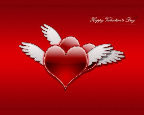 Valentine Hearts With Wings Wallpapers, Valentines Day Wings Heart
