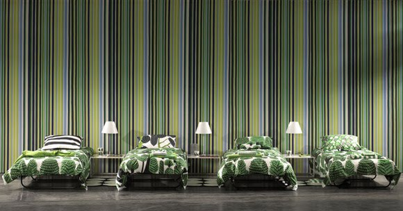 green stripes wallpaper. The striped wallpaper pulls all the colors together and creates a visual