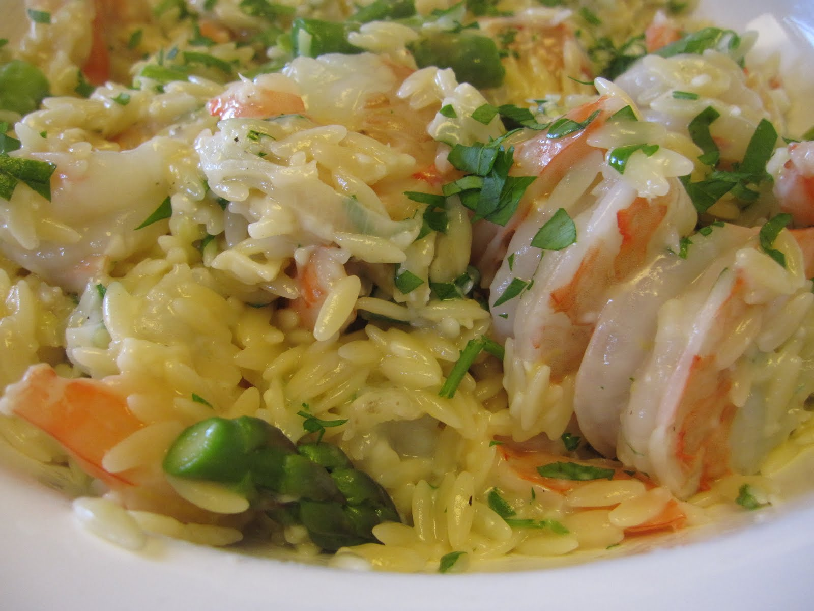 Lemony Orzo with Shrimp & Asparagus - Recipes4EveryKitchen