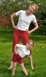 Mother & daughter working out together