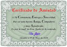 Certificado a la amistad