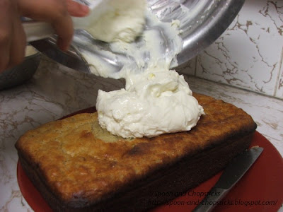 Banana Loaf with Light Cream Cheese Frosting