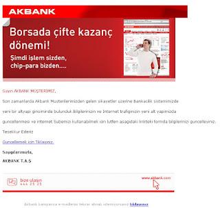 örnek bir phishing olta spam maili epostası