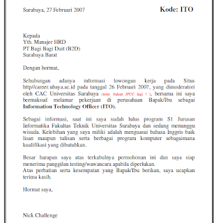 Contoh Application Letter Bahasa Indonesia Untuk Hotel on