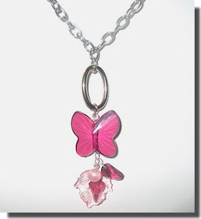 Conjunto colar e brincos rosa