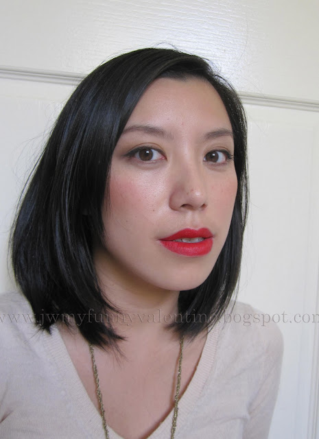 Me wearing Lipstick Queen Red Sinner, Laura Mercier satinee creme colour in Rum Satin, and MAC Gingerly blush