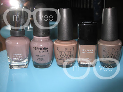 Sally Hansen - Commander in Chic, Sephora by OPI - Metro Chic, OPI - Over the Taupe, Chanel - Particuliere, OPI - You Don't Know Jacques