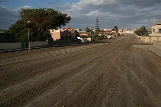 Rain on a road in Swakopmund