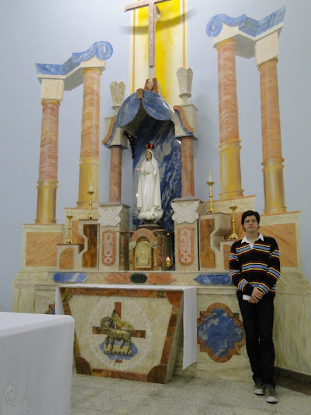 5,60 mts altar mor de marmore e pintura encaustica frio Trompe-l'oeil