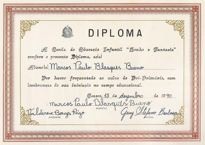 """DIPLOMA SIMBÓLICO da """"Pré Escola"""" SONHO E FANTASIA"""