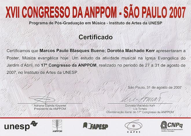 XVII Congresso da ANPPOM - Apresentação de Painel