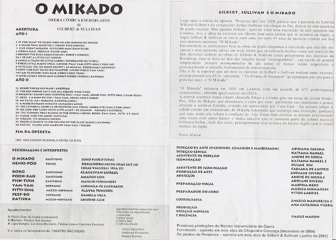 Cantor na Ópera MIKADO - Tenor coro (parte interna)