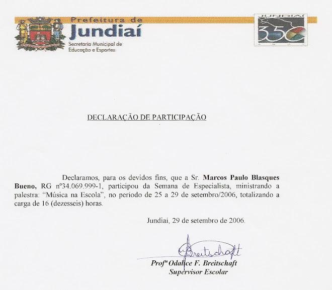 Declaração de Participação - PALESTRANTE em Jundiaí