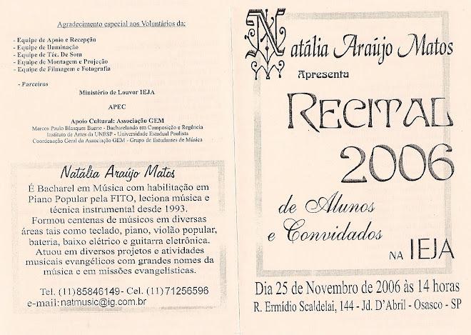 RECITAL 2006 Natalia Araújo Matos PROGRAMAÇÃO (frente)