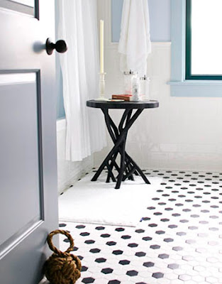 I love vintage black and white tile pattern bathroom floors.
