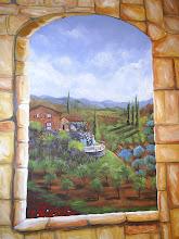 A mural in a powder room