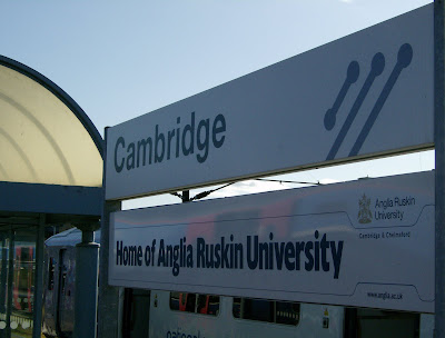 Sign reading Cambridge: Home of Anglia Ruskin University