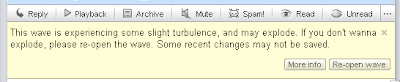 Google Wave error message about turbulence and exploding