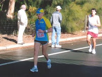 Luckylegs runs 5:34:06 in her last marathon at age-78 (Jim White photo)
