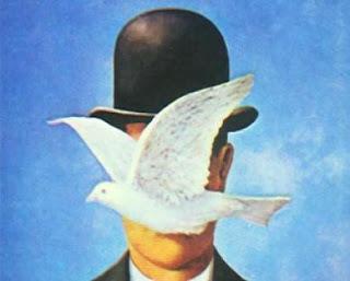 René Magritte Hombre+con+sombrero+y+Paloma+Magritte