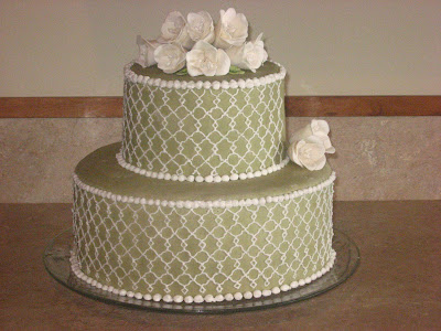 green and white cake, fondant cake with piping, Las Vegas wedding cakes