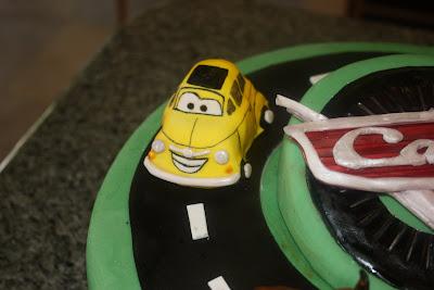 Cars cake, race track cake, Las Vegas cakes