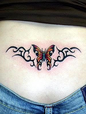 Humming Bird Tattoo Design On Female Lower Back